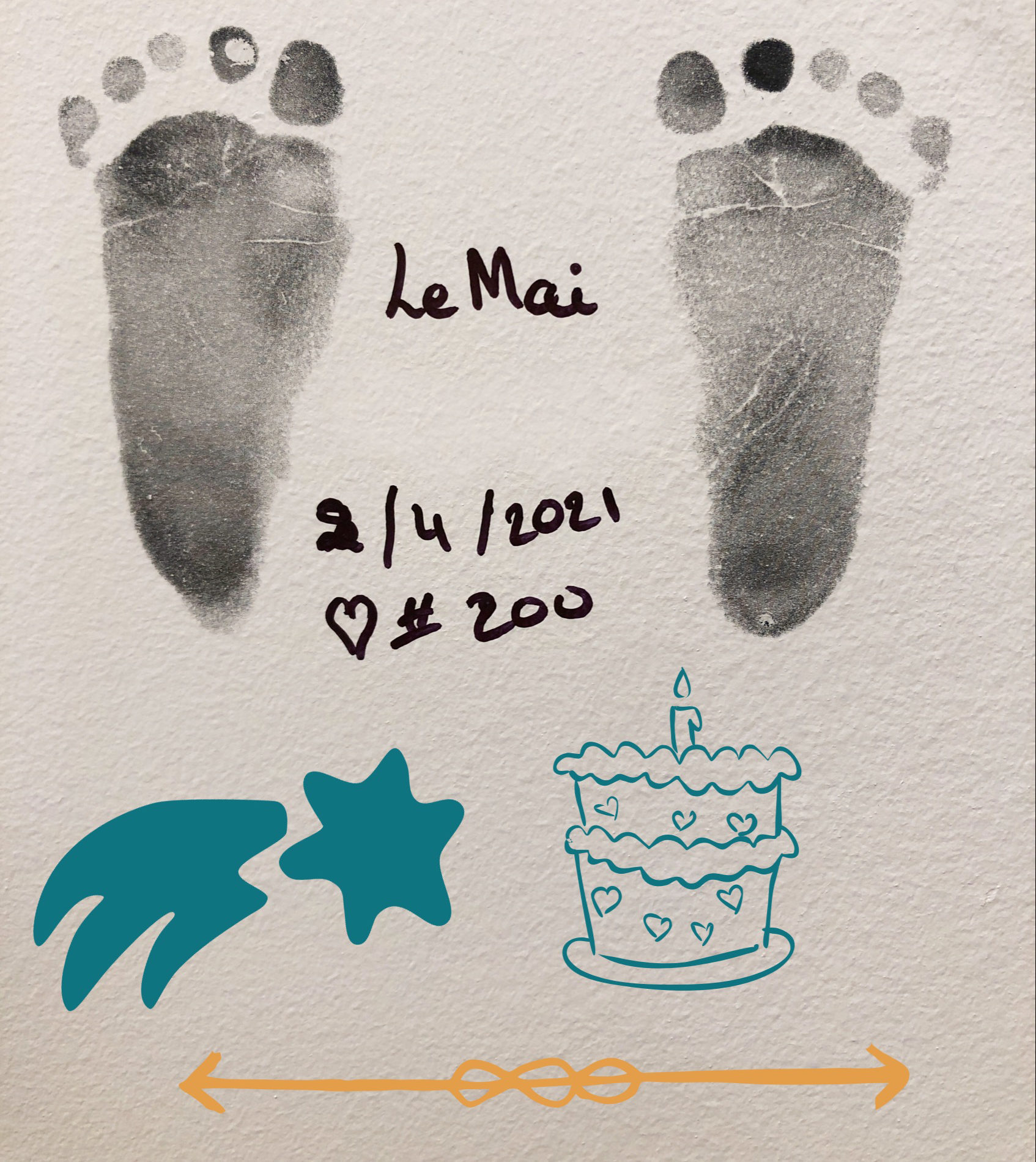 photo of Mai Le's footprints on the wall at seasons